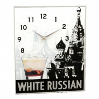 White Russian Drink Glass Mirror Wall Clock